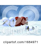 3D Snowy Landscape With Santa Claus Bringing The New Year In