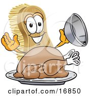 Clipart Picture Of A Scrub Brush Mascot Cartoon Character Serving A Cooked Thanksgiving Turkey On A Platter