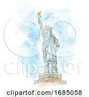 Statue Of Liberty Hand Draw On Watercolor Background