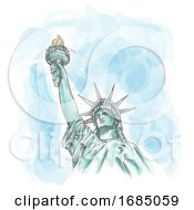 The Statue Of Liberty On Watercolor Sky by Domenico Condello