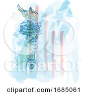 Watercolor Torch Of Statue Of Liberty On USA Flag