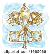 Vatican Symbol Watercolor Hand Drawn