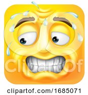 Poster, Art Print Of Square Emoticon Sweating