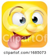 Poster, Art Print Of Square Emoticon Sticking His Tongue Out