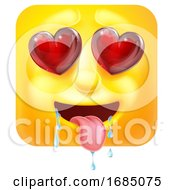 Poster, Art Print Of Square Emoticon In Love