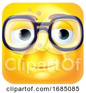 Square Emoticon With Blemishes And Glasses