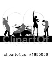 Poster, Art Print Of Music Band Concert Silhouettes