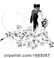 Poster, Art Print Of Bride And Groom Wedding Silhouette Concept