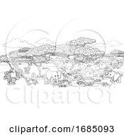 Poster, Art Print Of Safari Cartoon Animal Background Landscape Scene