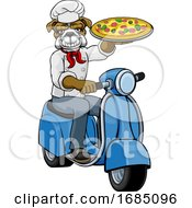 Bulldog Chef Pizza Restaurant Delivery Scooter