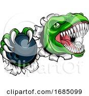 Poster, Art Print Of Dinosaur Bowling Player Animal Sports Mascot