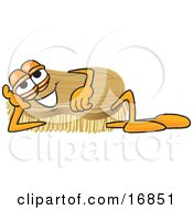 Scrub Brush Mascot Cartoon Character Lying On His Side And Resting His Head On His Hand