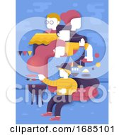 Poster, Art Print Of Family Food Barbecue Get Together Illustration