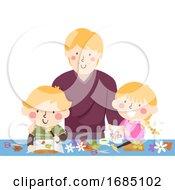 Dad Kids Activity Flower Pounding Illustration