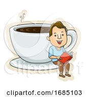 Teen Guy Coffee Cup Read Book Illustration