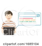 Teen Guy Laptop Search Illustration