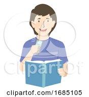 Teen Guy Study Recorder Illustration