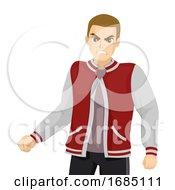Poster, Art Print Of Teen Boy Aggressive Illustration