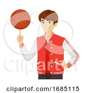 Teen Boy Basketball Player Illustration