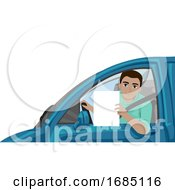 Teen Boy Driving Lesson Illustration