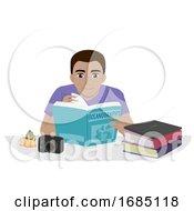 Teen Boy Oceanography Book Read Illustration