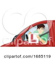 Teen Boy Pass Driving Lesson Illustration