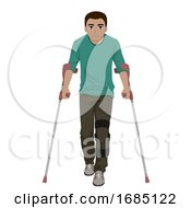 Teen Boy With Special Need Leg Brace Illustration