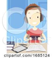 Poster, Art Print Of Teen Guy Procrastinating Illustration