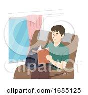 Poster, Art Print Of Teen Guy Read Book Bus Illustration