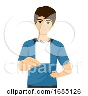 Teen Guy Show School ID Blank Illustration