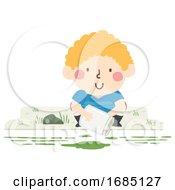 Kid Boy Get Algae Sample Illustration