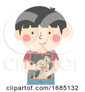 Poster, Art Print Of Kid Boy Hold Dead Pet Picture Illustration