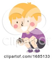 Kid Boy Hold Tarantula Illustration