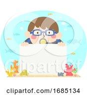 Kid Boy Board Underwater Corals Illustration