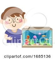 Kid Boy Marine Ecosystem Diorama Illustration