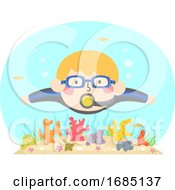 Kid Boy Swim Coral Reef Illustration