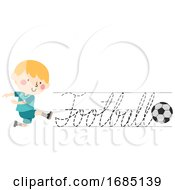 Kid Boy Trace Football Cursive Illustration