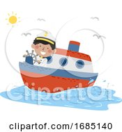 Kid Boy Travel Captain Ferry Illustration