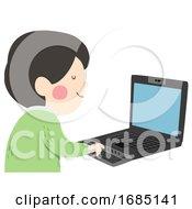 Poster, Art Print Of Kid Boy Electronic Braille Blind Illustration