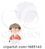 Poster, Art Print Of Kid Boy Write Quill Thinking Cloud Illustration