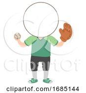 Kids Baseball Sport Head Illustration