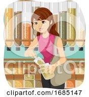 Teen Girl Bulk Shopping Jar Illustration