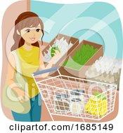 Teen Girl Bulk Shop Cart Illustration