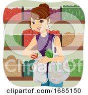 Teen Girl Bulk Shop Net Bag Illustration
