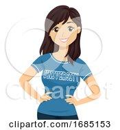 Teen Girl University Shirt Illustration