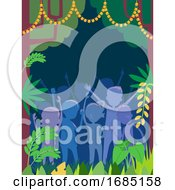 Poster, Art Print Of People Silhouette Wildlife Party Illustration