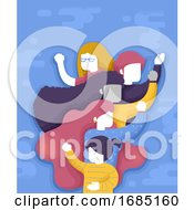Poster, Art Print Of Woman Group Empowered Illustration