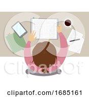 Teen Girl Study Coffee Top View Illustration