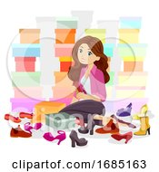 Teen Girl Shoe Collection Illustration