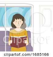 Girl Read Book Train Illustration